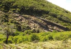 Rocas a la vista por erosión en Huallipulli