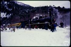 Tren de la Araucanía a la salida del túnel (Boca Sur)